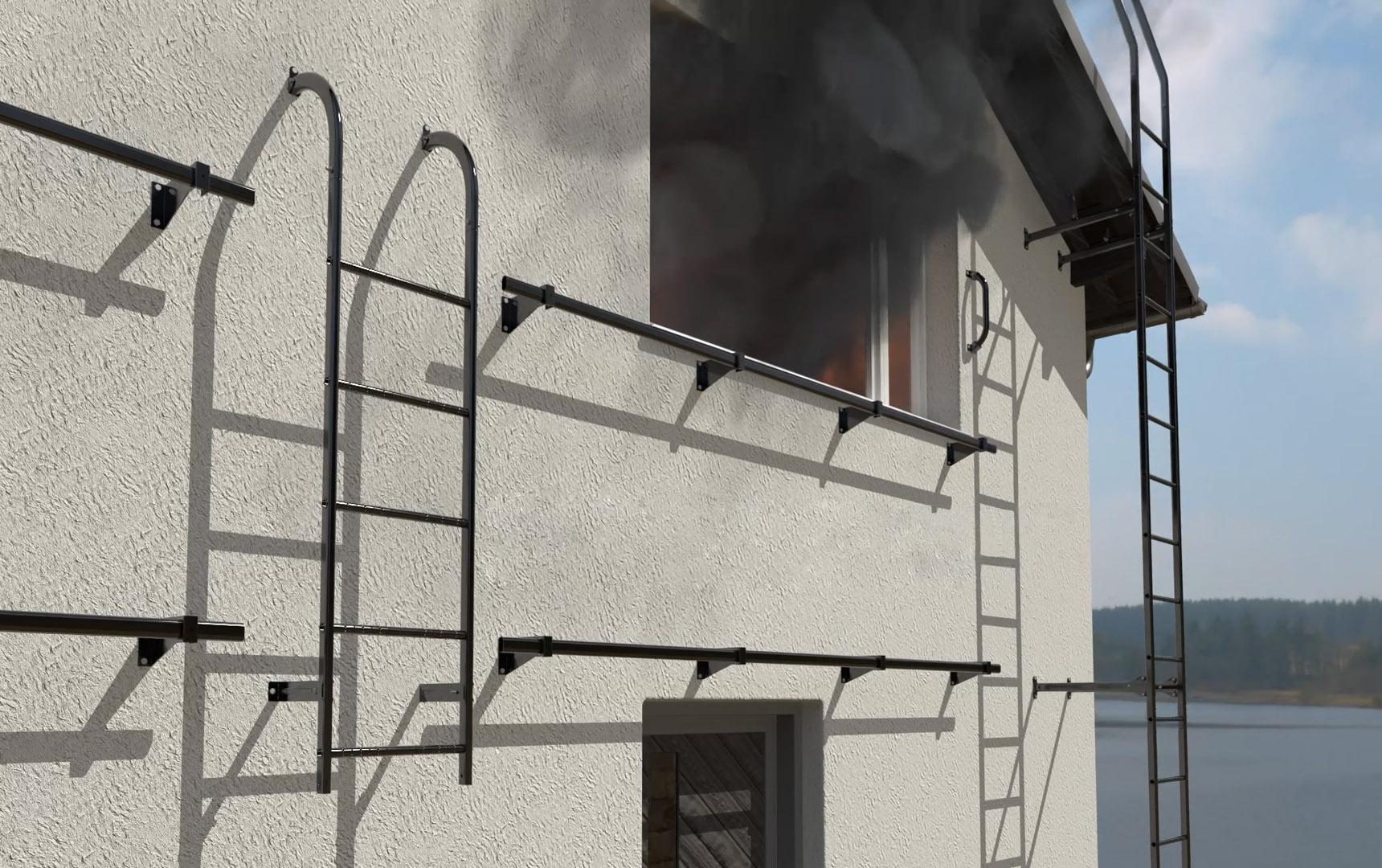 Palotikkaan avulla voidaan rakennuksesta poistua turvallisesti tulipalon sattuessa.